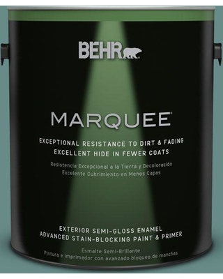BEHR MARQUEE 1 gal. #ecc-60-3 Pool Tide Semi-Gloss Enamel Exterior Paint and Primer in One