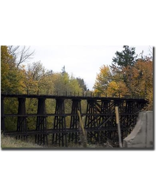 "Trademark Art 'Country Bridge' by Yale Gurney Photographic Print on Canvas YG2629-C1824GG / YG2629-C2432GG Size: 18"" H x 24"" W x 2"" D"