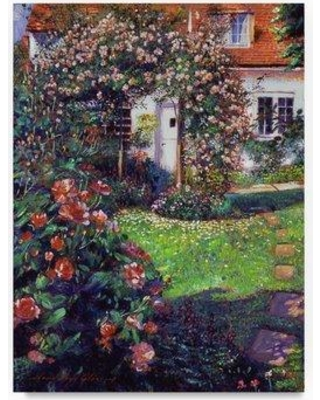 "Trademark Art 'Garden Delights' Acrylic Painting Print on Wrapped Canvas DLG00419-C Size: 19"" H x 14"" W"