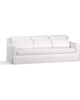 """York Square Arm Slipcovered Deep Seat Grand Sofa 94"""" with Bench Cushion, Down Blend Wrapped Cushions, Twill White"""