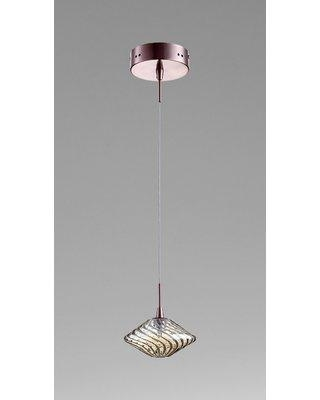 Cyan Design Clive 1-Light Geometric Pendant 760 Finish / Shade Finish: Satin Copper / Cognac Glass