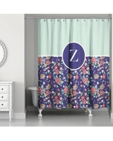 August Grove Crossman Monogram Floral Shower Curtain AGTG5657 Letter: Z