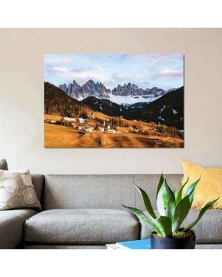 """East Urban Home 'Sunset Over Village In The Dolomites' By Matteo Colombo Graphic Art Print on Wrapped Canvas ETRC6748 Size: 18"""" H x 26"""" W x 0.75"""" D"""