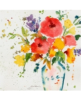 White Vase with Bright Flowers' by Sheila Golden Ready to Hang Canvas Wall Art, Multicolored