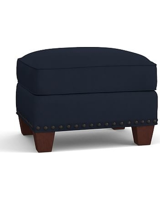 Irving Roll Arm Upholstered Storage Ottoman with Bronze Nailheads, Polyester Wrapped Cushions, Twill Cadet Navy