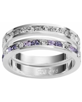 Traditions Silver-Plated Swarovski Crystal Eternity Ring Set, Women's, Size: 7, Purple