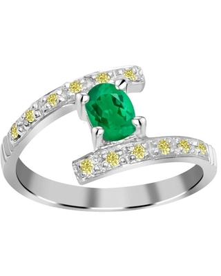 Natural 0.61 Carat Emerald & Diamond 925 Sterling Silver Engagement Ring (6)