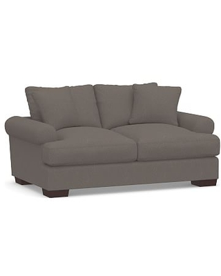 """Sullivan Deep Roll Arm Upholstered Loveseat 73"""", Down Blend Wrapped Cushions, Performance Heathered Tweed Graphite"""
