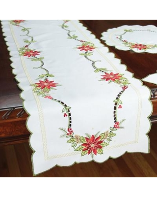 """Xia Home Fashions Scrolling Poinsettia Embroidered Cutwork Table Runner XD147811 Size: 72"""" L x 15"""" W"""