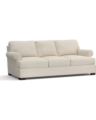 "Townsend Roll Arm Upholstered Grand Sofa 101.5"", Polyester Wrapped Cushions, Twill Cream"