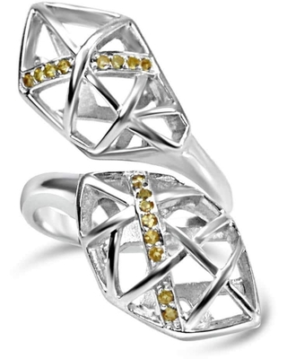Bellus Domina - White Gold Plated Citrine Helical Ring