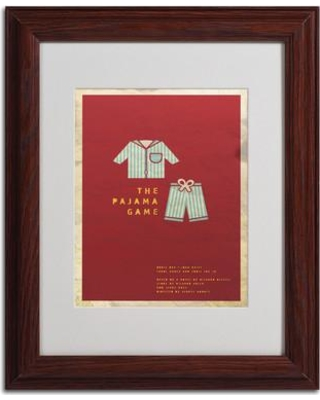 """Trademark Art """"The Pajama Game"""" by Megan Romo Matted Framed Graphic Art MR0018- Size: 14"""" H x 11"""" W x 0.5"""" D Frame: Brown - Beveled"""