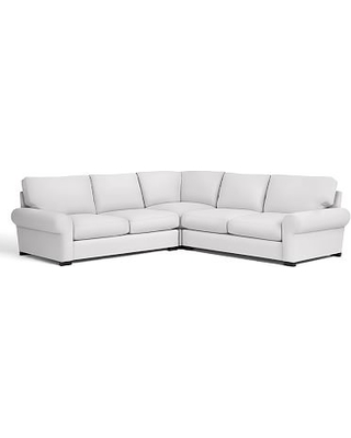 Turner Roll Arm Upholstered 3-Piece L-Shaped Corner Sectional, Down Blend Wrapped Cushions, Twill White