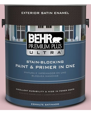 BEHR Premium Plus Ultra 1 gal. #S130-2 Shy Smile Satin Enamel Exterior Paint and Primer in One