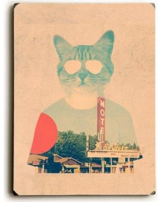 """Wrought Studio 'Cool Cat' Graphic Art Print BF010470 Size: 12"""" H x 9"""" W x 1"""" D Format: Solid Wood"""