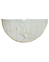 """48"""" Ivory White """"Merry & Bright"""" Christmas Tree Skirt with Gold Lettering and Trim"""