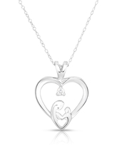 """Noray Designs 14k Gold Diamond (0.05 Ct, G-H Color, SI2-I1 Clarity) Mother & Child Heart Pendant, 18"""" Gold Chain"""