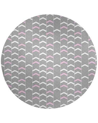 East Urban Home Lined Chevrons Gray/Pink Area Rug FCLR8871 Rug Size: Round 5'