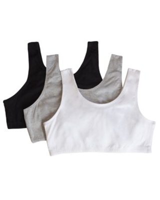 Fruit of the Loom Girls Built Up Strap Cotton Sport Bra, 3-Pack, Sizes 4-16