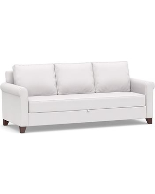 Cameron Roll Arm Upholstered Pull-Up Platform Sleeper Sofa, Polyester Wrapped Cushions, Twill White