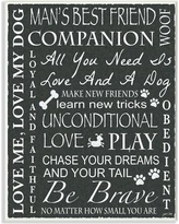 """Stupell Industries Dog Man's Best Friend Black and White Typography Textual Art pwp-118_canvas_16x20 Size: 15"""" H x 10"""" W Format: Plaque"""