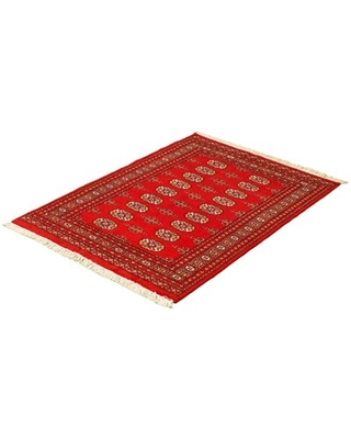 """One-of-a-Kind Yaak Hand-Knotted 2010s Bokhara Red 3'11"""" x 5'10"""" Wool Area Rug Isabelline"""