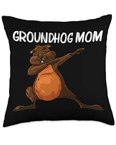 Funny Groundhog Marmot Groundhog Costume Clothes Cool Gift for Mom Mother Groundhog Day Pet Rodent Throw Pillow, 18x18, Multicolor