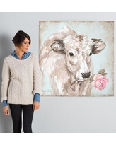 "Laurel Foundry Modern Farmhouse French Farmhouse Series: Cow with Rose II Painting Print on Wrapped Canvas LRFY1799 Size: 37"" H x 37"" W x 1.5"" D"