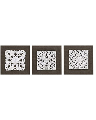 Amazing Savings On Madison Park Wall Art Living Room Decor Mandala Damask 3d Embelished Canvas Home Accent Dining Bathroom Decoration Ready To Hang Painting For Bedroom 12 X 12 White Brown 3 Piece