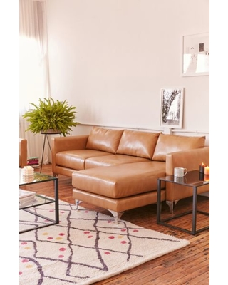 Astonishing Hot Sale Chamberlin Recycled Leather Sectional Sofa Brown Ibusinesslaw Wood Chair Design Ideas Ibusinesslaworg