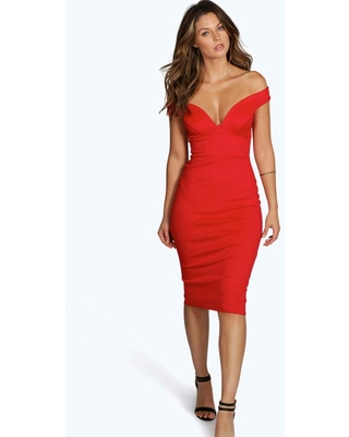 Womens Sweetheart Off Shoulder Bodycon Midi Dress - Red - 12