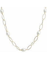"PearLustre by Imperial 14k Gold Over Silver Freshwater Cultured Pearl Station Necklace, Women's, Size: 17"", White"