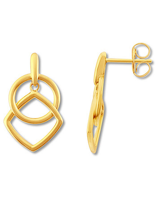 Circle and Square Dangle Earrings 10K Yellow Gold