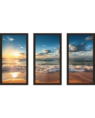 """PicturePerfectInternational 'Cloudscape over the Sea 5' 3 Piece Framed Photographic Print Set 704-4415-1224 / 704-4415-1632 Size: 25.5"""" H x 40.5"""" W x 1"""" D"""