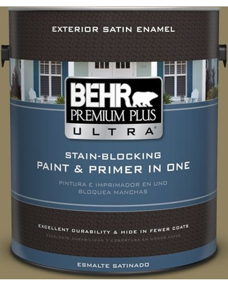BEHR ULTRA 1 gal. #PPU8-02 Gingko Tree Satin Enamel Exterior Paint and Primer in One