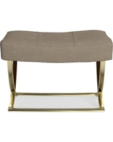 James Square Ottoman, Brass, Performance Linen Blend, Solid, Stone