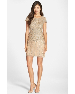Adrianna Papell - Sequined Ornate Dress 41911070