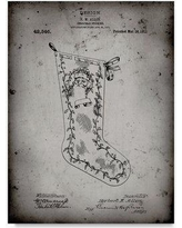 """Trademark Art 'Christmas Stocking' Drawing Print on Wrapped Canvas ALI22078-C Size: 24"""" H x 18"""" W"""