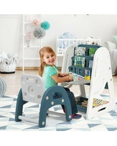 Gymax 2 In 1 2 Arts & Crafts Table & Chair SetPlastic in Blue, Size 39.0 H x 21.0 W x 25.0 D in | Wayfair GYM06395