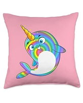 Unicorn Squad Goals Gift Store Narwhal Rainbow Girls Kids Boys Throw Pillow, 18x18, Multicolor