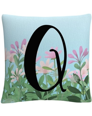 Pink Floral Garden Letter Illustration Q By Abc 16 X 16 Decorative Throw Pillow
