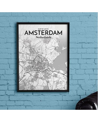 "Wrought Studio 'Amsterdam City Map' Graphic Art Print Poster in Tones BI153508 Size: 20"" H x 16"" W x 0.05"" D"