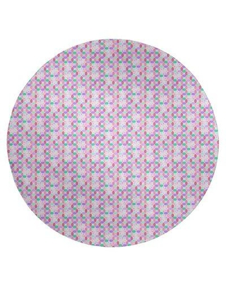 East Urban Home Stained Glass Light Pink Area Rug EBKQ8697 Rug Size: Round 5'
