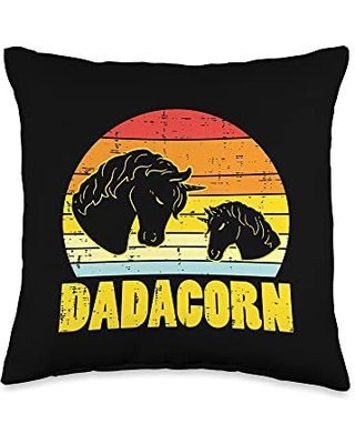 Best Dad Pillows Husband Birthday Fathers Day Gift Dadacorn Sunset Retro Dad Unicorn Fathers Day Daddy Papa Men Throw Pillow, 16x16, Multicolor