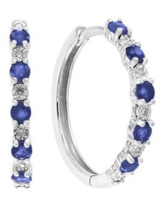 Effy White Gold 0.4 ct. t.w. Diamond and 7/8 ct. t.w. Natural Sapphire Earrings in 14k White Gold