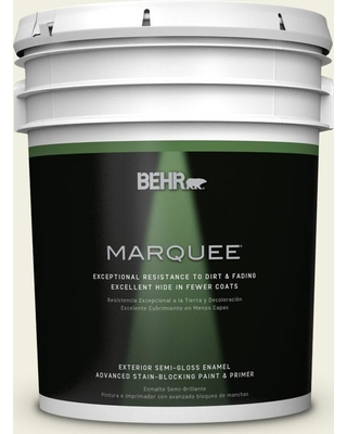 BEHR MARQUEE 5 gal. #GR-W2 Atrium White Semi-Gloss Enamel Exterior Paint and Primer in One