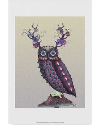 "Winston Porter 'Owl with Psychedelic Antlers' Graphic Art Print on Wrapped Canvas WNPO3875 Size: 32"" H x 22"" W x 2"" D"