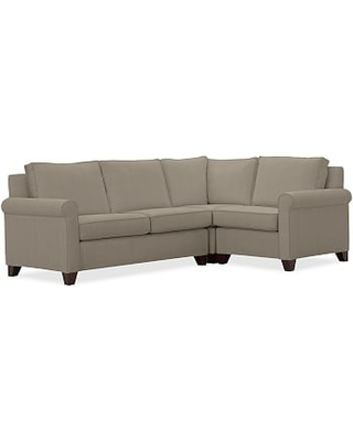 Cameron Roll Arm Upholstered Left Arm 3-Piece Corner Sectional, Polyester Wrapped Cushions, Performance Everydayvelvet(TM) Carbon