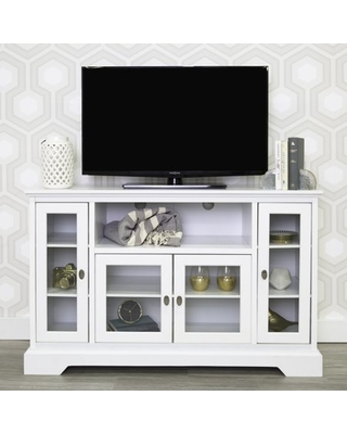 Manor Park Transitional Highboy Glass Door Wood TV Stand, White