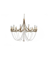 """Gabby Sandra 12-Light Candle Style Empire Chandelier, Wood/Metal in Gold/White, Size 24""""H X 40""""W X 40""""D 